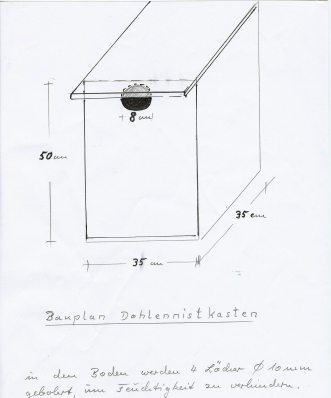 Bauplan Dohlen-Nistkasten