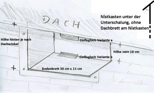 Bauplan Mauerseglerkasten an Unterschalung